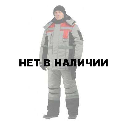 Костюм мужской Респект зимний с полукомбинезономсерый с красно-чёрной отделкой