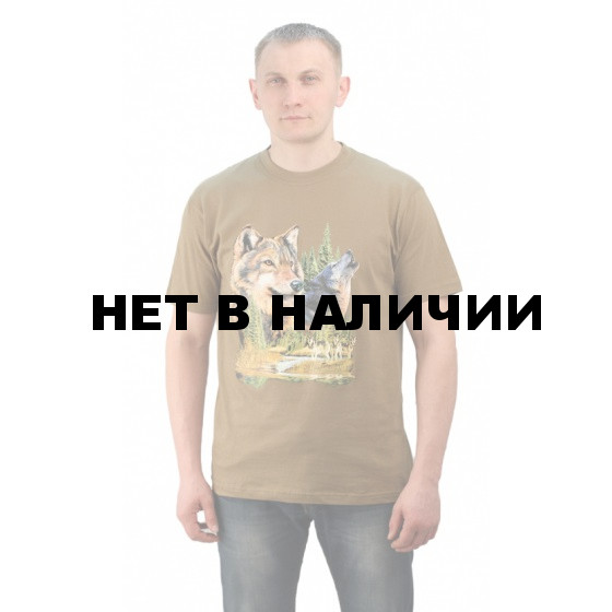 "Футболка ""Волк"" цвет хаки. Мир футболок"