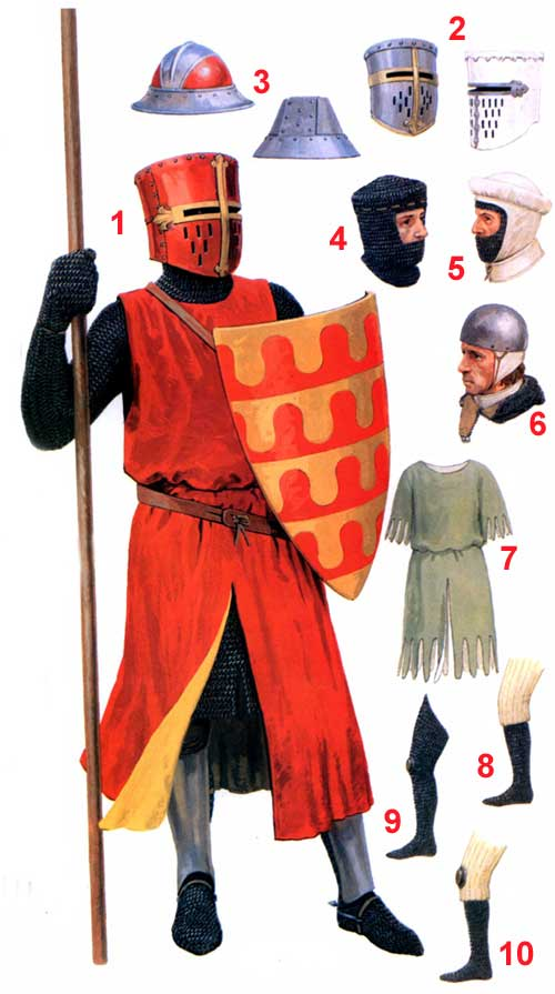 Доспехи и снаряжение английских рыцарей 1200-1300 гг.
