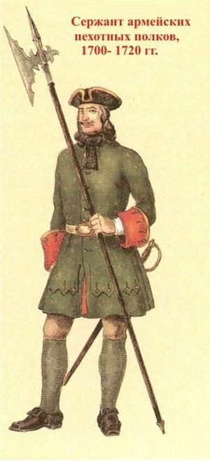 Форма одежды русской армии 1700-1731 гг.