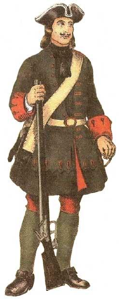Униформа Лейб-гвардии Преображенского полка 1700-1731 гг.