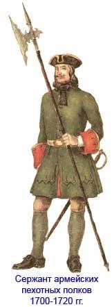 Униформа русских армейских пехотных полков 1700-1720 гг.