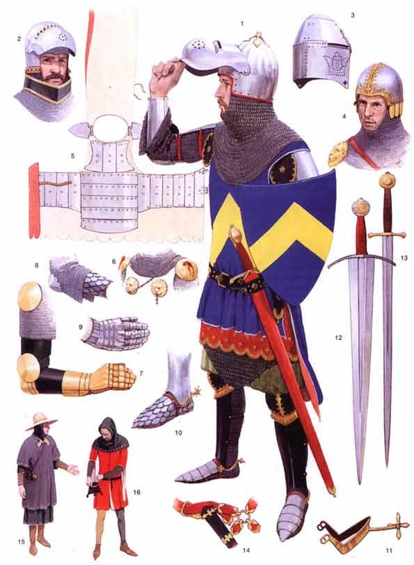 Доспехи и снаряжение английских рыцарей 1300-1400 гг.