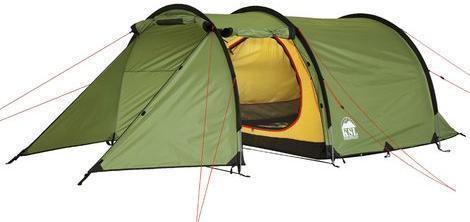 Трехместная туристическая палатка-полубочка с большим тамбуром KSL Half Roll 3 зеленый