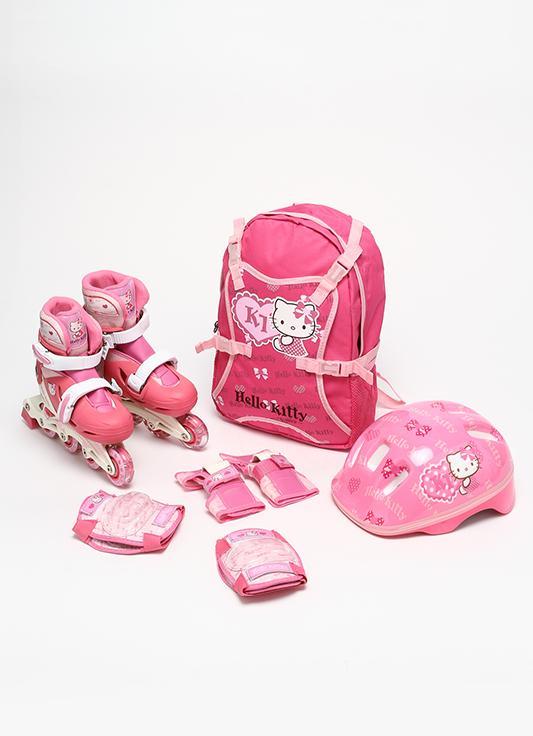 Роликовые коньки раздвижные HCY11139 набор (в рюкзаке с защитой,шлемом) размер 29-32