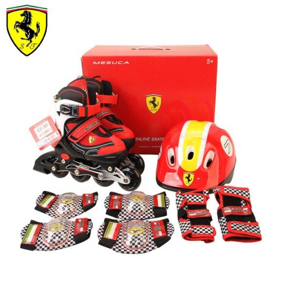 Роликовые коньки раздвижные Ferrari набор с защитой и шлемом FK11-1 (белый/черный), Роликовые коньки - арт. 834580430