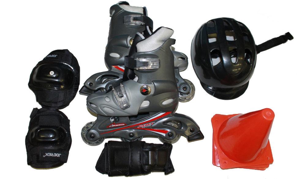 Роликовые коньки JOEREX RO0306 набор (серый/черный) УЦЕНЕННЫЙ, Роликовые коньки - арт. 646160430