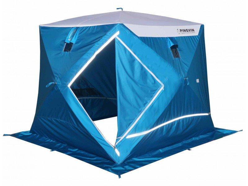 Зимняя палатка куб Пингвин Призма Премиум Strong (белый/синий), Палатки - арт. 1131290162