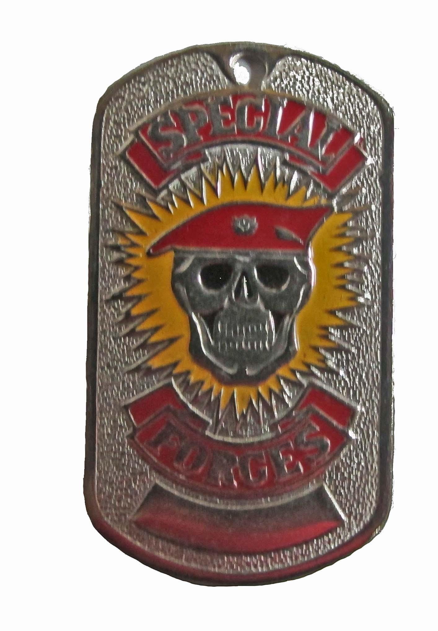 Жетон 2-4 SPECIAL FORCES череп красный берет металл