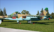 A Ukrainian Su-25 painted with earth colors on the top and sky color on the bottom