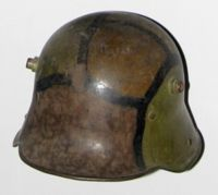World War I Stahlhelm with camouflage pattern applied in the field