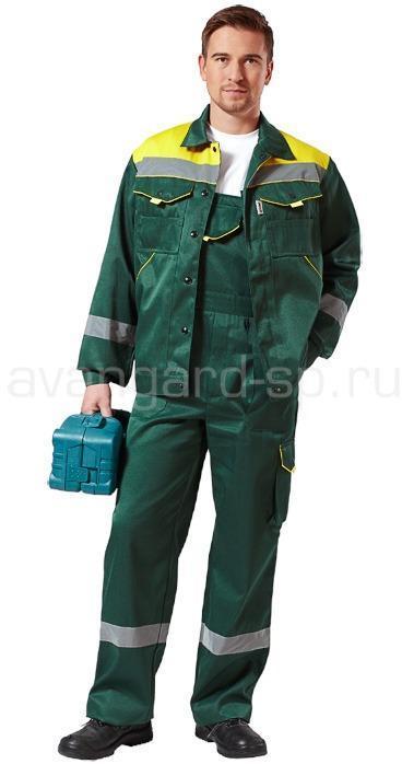 Костюм Монтажник с полукомбинезоном (ткань смесовая) зелен.+желт.