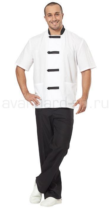 Костюм повара мужской Азия (цв. белый + черный), Костюмы для индустрии гостеприимства - арт. 462850250