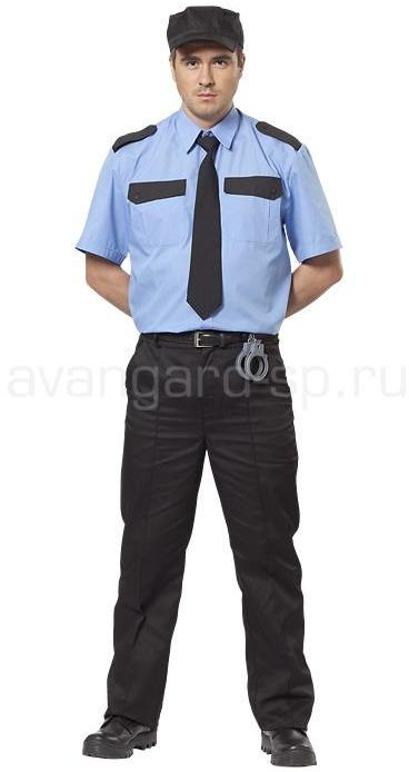 Купить Рубашка охранника, короткий рукав, цвет голубой, Авангард-спецодежда