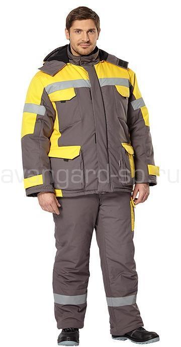 Костюм Ойл Тэк утепленный (серый+желтый) - артикул: 464110251