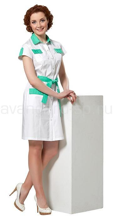 Платье женское LL4103 (бел+зел), Юбки и платья - арт. 465640153