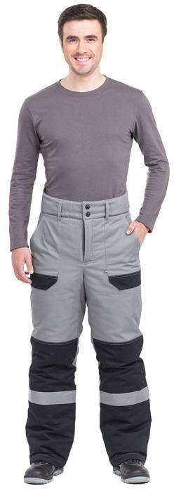Брюки Виват утепленные мужские цвет серый+черный, Зимние брюки и полукомбинезоны - арт. 466420348