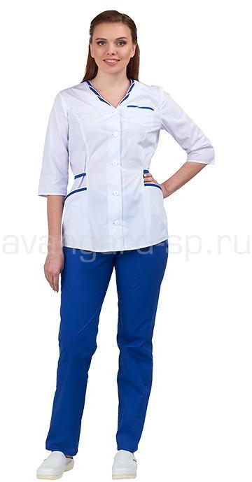 Комплект одежды медицинской женской Ольга NEW (блуза и брюки) белый+василек, Медицинские костюмы - арт. 466470249