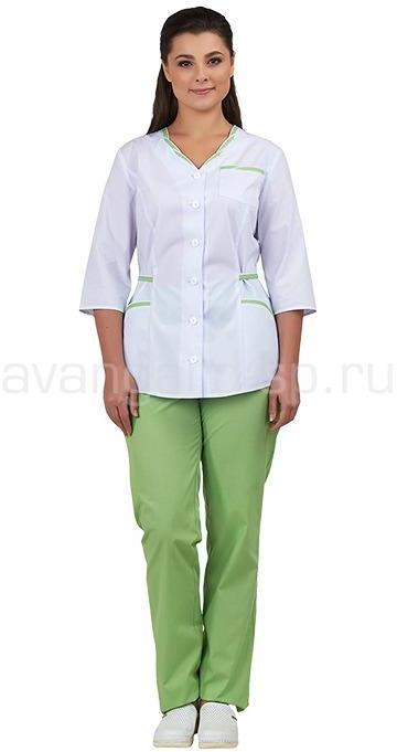 Комплект одежды медицинской женской Ольга NEW (блуза и брюки) белый+лайм, Медицинские костюмы - арт. 466480249