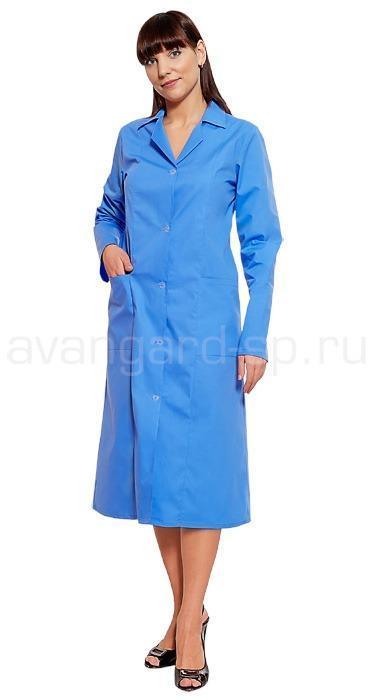 Халат женский с рельефом голубой