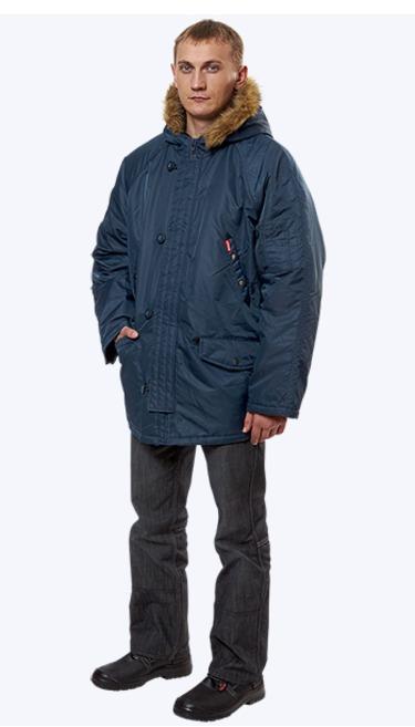 Куртка Аляска(Пионер) удлиненная, ткань нейлон (т.синяя)