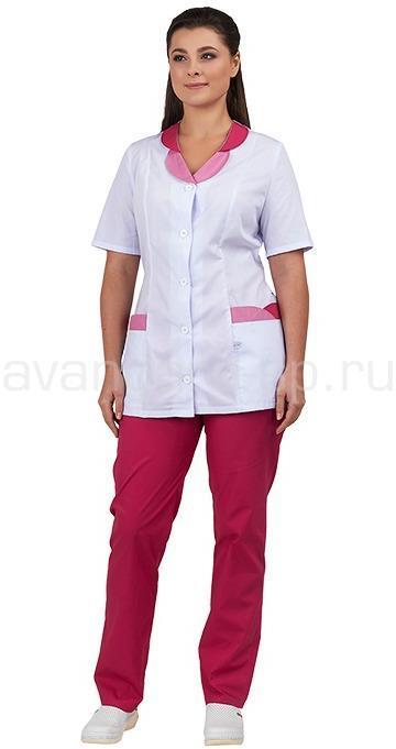 Комплект одежды медицинской женской Нимфа (блуза и брюки) (мал.+роз.), Медицинские костюмы - арт. 496970249