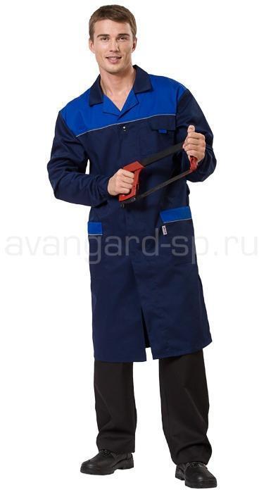 Купить Халат мужской Технолог (ткань смесовая) цвет т. синий +василек+ светоотр. кант, Авангард-спецодежда
