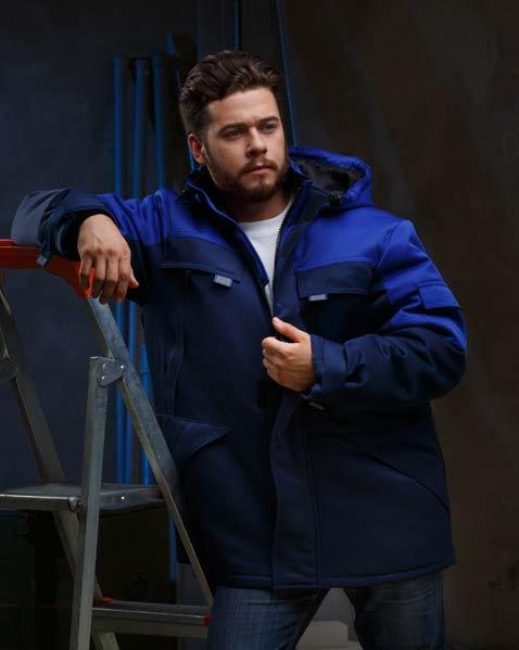 Куртка БАЙЕР утепленная, ткань Смесовая, цвет т.син-василек, Куртки - арт. 1071150156