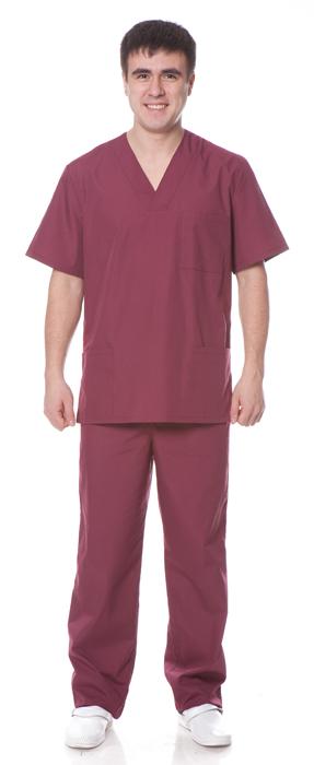 Костюм хирурга (куртка+брюки), ткань смесовая, цвет бордовый, Медицинские костюмы - арт. 1107970249