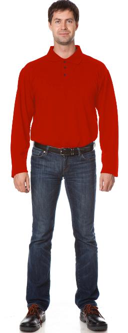 Рубашка Поло с длинным рукавом цвет Красный, Рубашки - арт. 1111070163