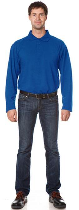 Рубашка Поло с длинным рукавом цвет Васильковый, Рубашки - арт. 1111050163