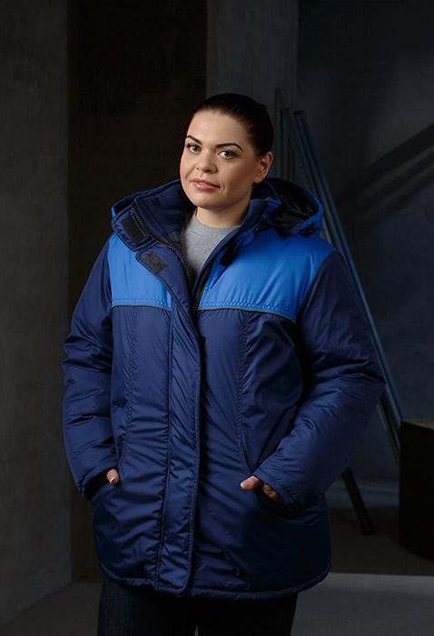 Купить Куртка женская утепленная Снежинка, ткань 100% п/э, цвет т.син.-василек, , Энергия спецодежда
