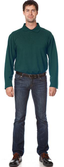 Рубашка Поло с длинным рукавом цвет темно-зеленый, Рубашки - арт. 1111090163