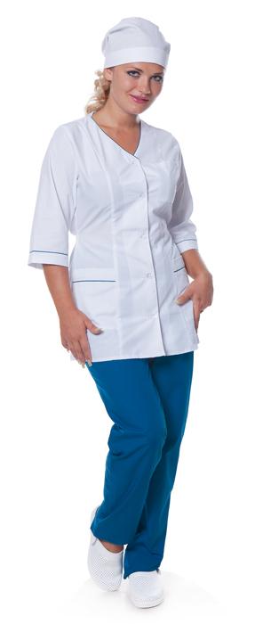 Костюм женский Лилия (куртка+брюки), ткань смесовая,цв.белый-морская волна