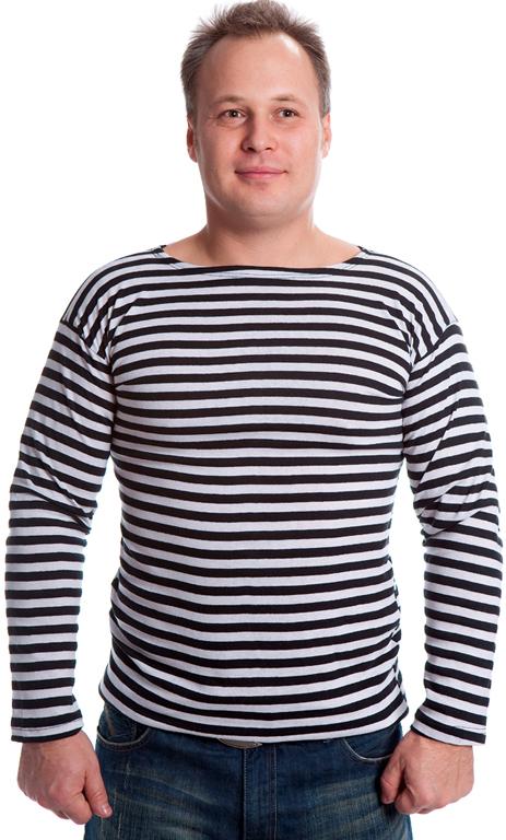 Купить Тельняшка с длинным рукавом утепленная цвет черный, Форма одежды