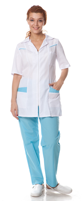 Костюм женский Жасмин (куртка+брюки), ткань смесовая,цв.белый-голубой, Брюки - арт. 1071380151