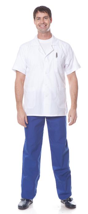 Костюм ВРАЧ (куртка+брюки), ткань смесовая, цвет белый-василек, Брюки - арт. 1109610151