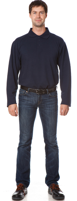 Рубашка Поло с длинным рукавом цвет темно-синий, Рубашки - арт. 1111100163