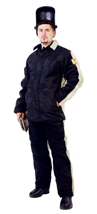 Костюм сварщика со спилком утепленный, ткань брезент 550 г/м2цв.хаки