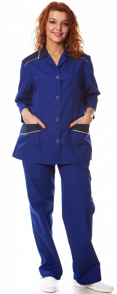 Костюм женский Силуэт (куртка+брюки),тк.смесовая,цв.василек-т.синий, Брюки - арт. 1071390151