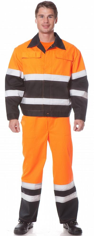 Костюм МАЯК (курт.+п.комб.), ткань Смесовая, цвет оранжев.-черн., Рабочие костюмы - арт. 1109670257