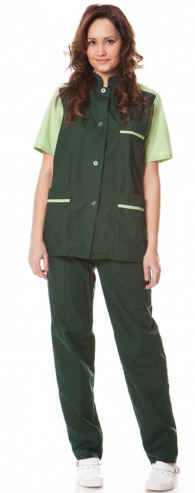 Купить Костюм женский Весна (куртка+брюки), ткань смесовая, цв.зеленый-салатовый, Энергия спецодежда