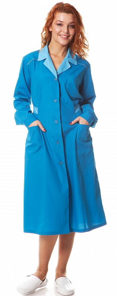 Купить Халат женский Смена, ткань смесовая, цвет голубой-св.голубой, Энергия спецодежда