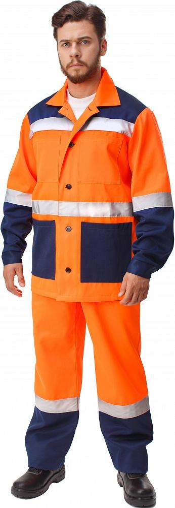 Костюм МАЯК-Н (куртка+п.комб.), ткань Смесовая, цвет оранж.-т.синий, Куртки - арт. 1109680156