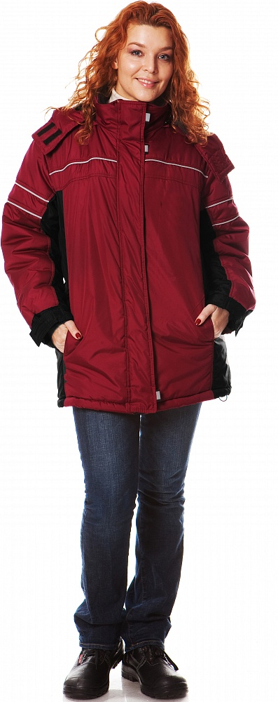 Купить Куртка женская СИТИ2 утеп., ткань Полиэстер, цвет борд.-черн., Энергия спецодежда