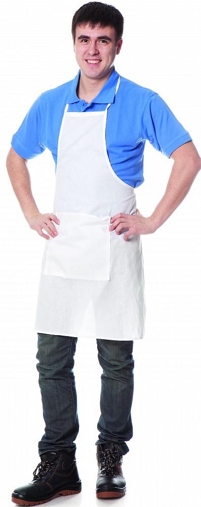 Купить Фартук поварской с грудкой, тк.бязь ГОСТ, цвет белый, Белый, Энергия спецодежда