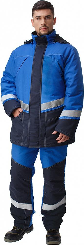Купить Костюм ИРТЫШ утепленный (куртка+п.комб.), ткань Смесовая, цвет т.синий-василек, Энергия спецодежда