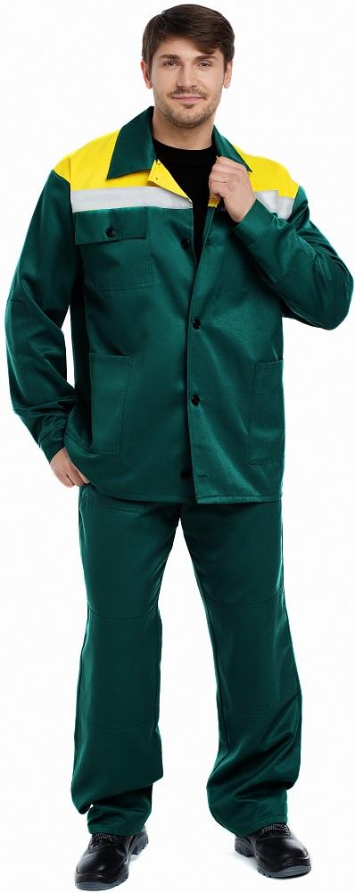 Купить Костюм ВОСХОД (курт.+бр.), ткань Смесовая, СВП, цвет зелен.-желтый, Энергия спецодежда