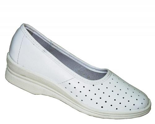 Туфли кожаные женские белые, Летняя - арт. 1108180176