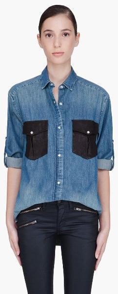768ebdcdc68 Рубашка с двумя карманами Белая рубашка с голубыми пуговицами